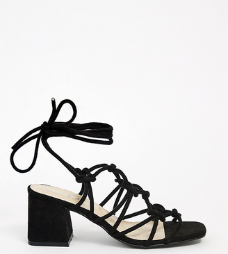 Public Desire Wide Fit Freya mid heeled sandals in black