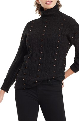 Nic+Zoe Majestic Beaded Cable Knit Metallic Turtleneck Sweater