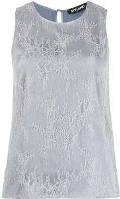 Styland Embellished Lace Overlay Blouse