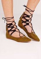 Missguided Ghillie Lace Up Pointed Flat Shoes Khaki