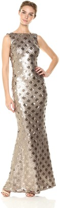 Dress the Population Women's Yvette Sleeveless Sequin Long Column Gown
