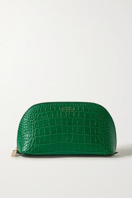 Smythson Mara Croc-effect Leather Cosmetics Case - Forest green