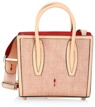Christian Louboutin Mini Paloma Leather-Trimmed Tweed Tote