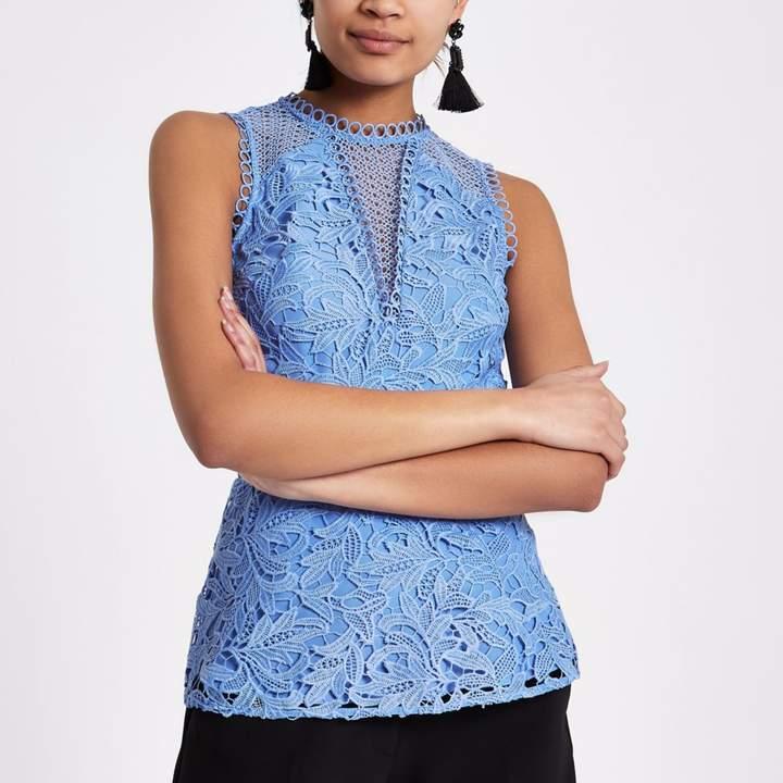River Island Womens Blue lace sleeveless peplum top