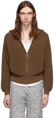 Judy Turner Brown Rib Zip Front Zip-Up Sweater