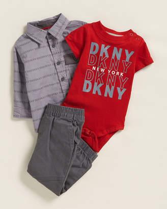 DKNY Newborn Boys) 3-Piece Bodysuit & Jogger Set