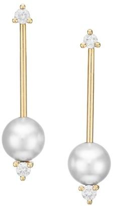 Mizuki Small 6MM Freshwater 5-8MM Pearl, Diamond & 14K Yellow Gold Bar Drop Earrings
