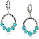 Judith Jack Sterling Silver/Swarovski Marcasite Turquoise Lever back Drop Earrings
