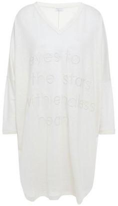 Brunello Cucinelli Oversized Embossed Slub Linen And Silk-blend Mini Dress