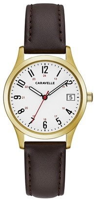 Caravelle Designed by Bulova Women's 44M112 Easy Reader Gold-Tone Brown Leather Strap Watch