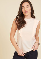 ModCloth Scallop to Date Sleeveless Top in Rosewater in 10 (UK)