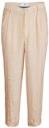Jiri Kalfar Nude Ankle High Silk Trousers