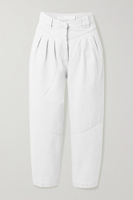IRO Despres Cropped Pleated High-rise Tapered Jeans - Light gray