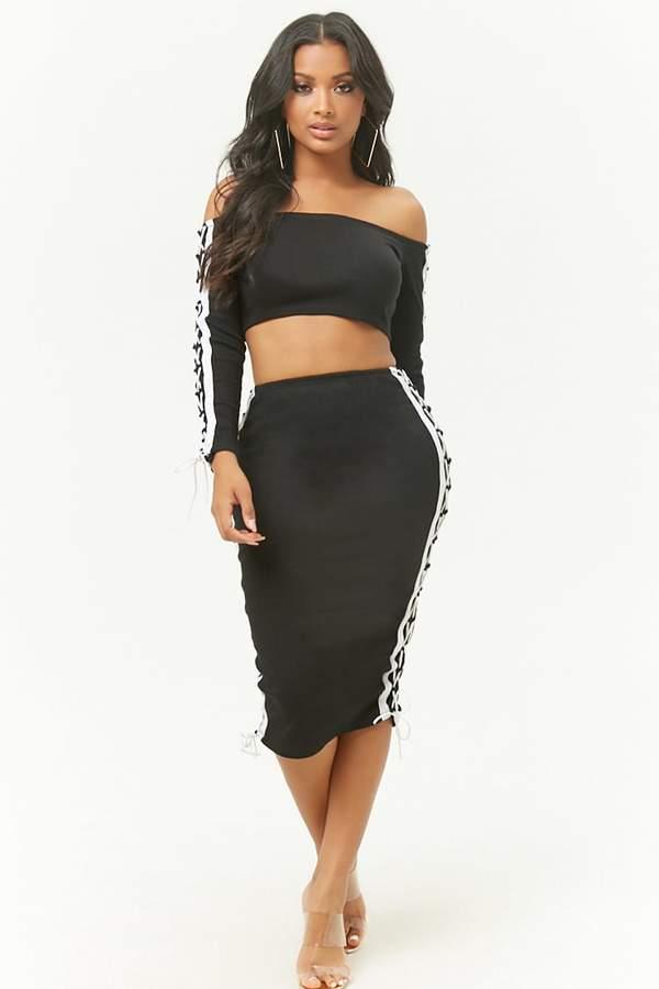 Lace Up Crop Top Skirt Set