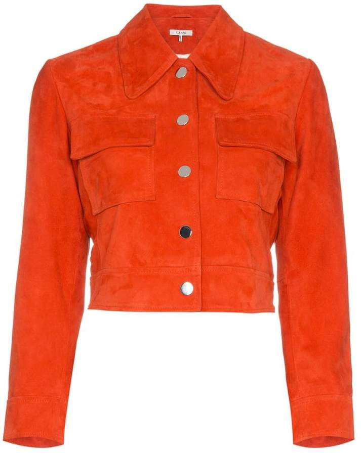 Ganni salvia suede leather jacket