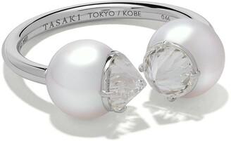 Tasaki platinum refined rebellion signature Akoya pearl and diamond ring