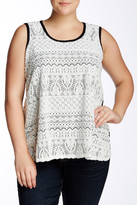 Chelsea & Theodore Lace Front Sleeveless Blouse (Plus Size)