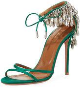 Aquazzura Eden Crystal-Embellished Ankle-Tie Sandal