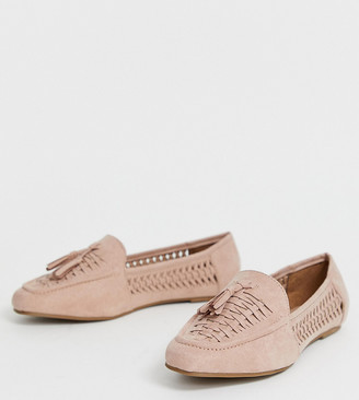 New Look wide fit woven loafer in nude