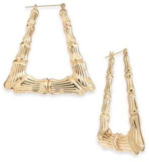 Thalia Sodi Gold-Tone Bamboo Triangle Medium Hoop Earrings, Created for Macy's