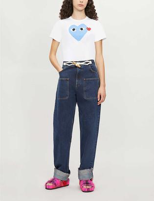 Comme des Garcons 2 Heart-print cotton-jersey T-shirt