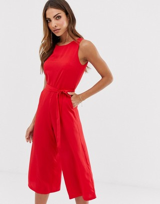 Yumi high neck jumpsuit-Red