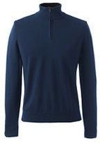 Classic Men's Tall Supima Fine Gauge Half-zip Mock Turtleneck-Dark Camel Heather