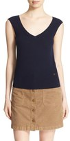 Tory Burch 'Seine' V-Neck Merino Wool Sweater