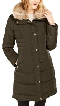 Michael Kors Michael Hooded Down Puffer Coat With Faux-Fur Trim