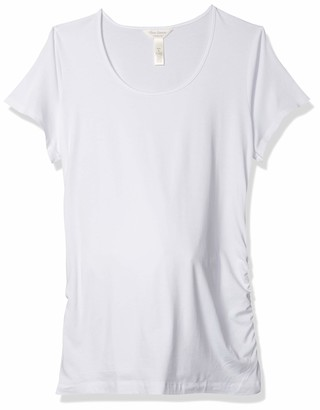 Three Seasons Maternity Women's Short Sleeve Scoop Side Ruche Tee