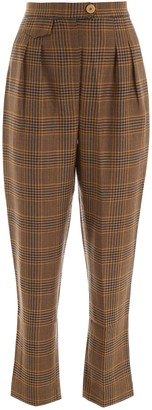 Nanushka Mitsu Pleated Detail Check Trousers