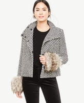 Ann Taylor Funnel Neck Coat with Faux Fur Cuffs