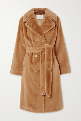 Stand Studio Faustine Belted Double-breasted Faux Fur Coat - FR34