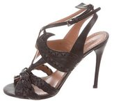Alaia Woven Leather Sandals