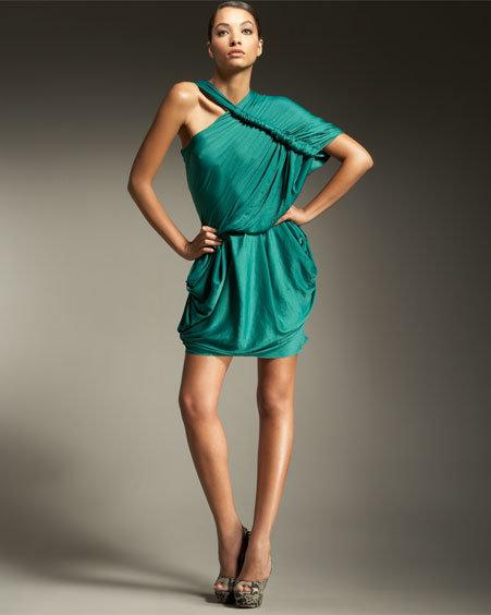 Lanvin Asymmetric Satin Dress