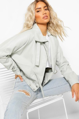 boohoo Funnel Neck Oversized Faux Leather Jacket