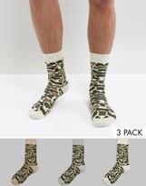 Asos Socks In Camo Design 3 Pack