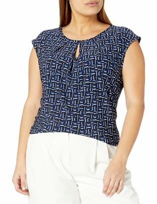 Kasper Women's Plus Size Cap Sleeve U-Neck Graphic DOT Print Knit TOP