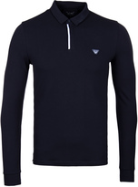 Armani Jeans Navy Concealed Placket Long Sleeve Polo Shirt