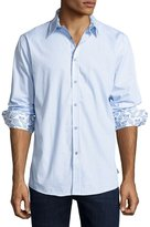 English Laundry Check-Print Button-Front Sport Shirt, Blue