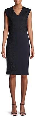 Donna Karan Embroidered V-Neck Sheath Dress