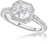 Nana Asscher Cut Halo Engagement Ring -Rhodium Plated-Size 9