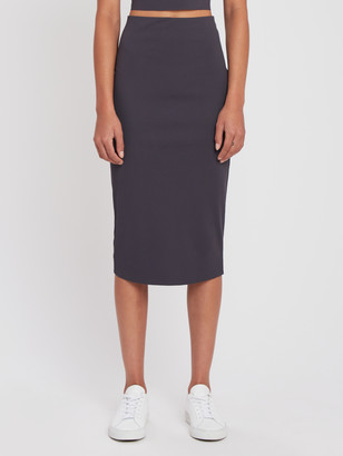 Cotton Jersey Ribbed Midi Skirt