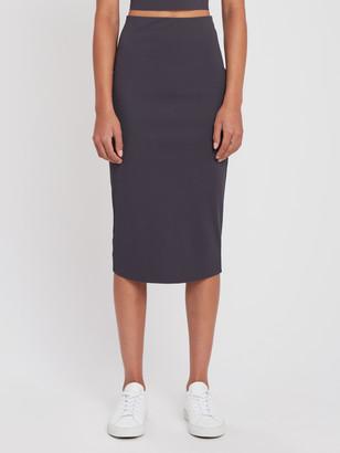 Lanston Sport Cotton Jersey Ribbed Midi Skirt