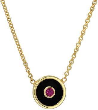 Retrouvaí Mini Black Onyx and Ruby Compass Yellow Gold Necklace