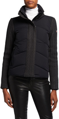 Post Card Norin Padded Combo-Knit Jacket, Black