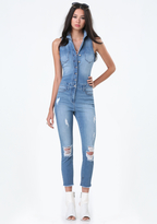 Bebe Denim Crop Flight Suit