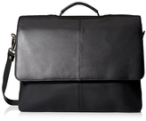 Visconti Black Flap-Front Leather Briefcase