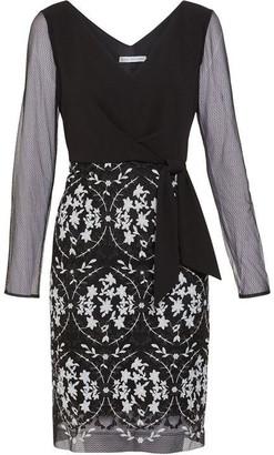 Gina Bacconi Cristela Crepe And Embroidered Dress