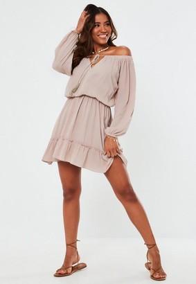 Missguided Taupe Bardot Tassel Mini Dress